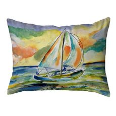Orange Sailboat Large Noncorded Pillow 16x20