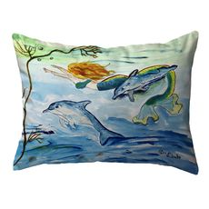 Mermaid & Dolphins Large Noncorded Pillow 16x20