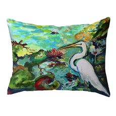 Egret  & Waterlilies Large Noncorded Pillow 16x20