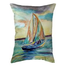 Teal Sailboat Large Noncorded Pillow 16x20