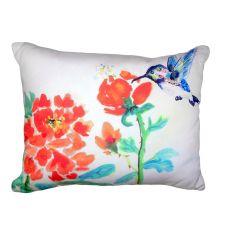 Hummingbird & Red Flower No Cord Pillow