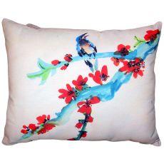 Red Buds & Bird No Cord Pillow