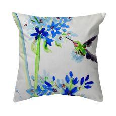 Hummingbird & Blue Flowers No Cord Pillow 18X18