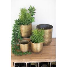 Metal Flower Pots - Aged Brass Finish Set of 4