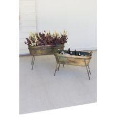 Oval Metal Planters On Stands - Antique Verdigris, Set of 2