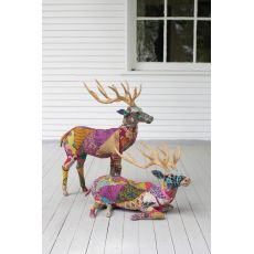 Stag With Recycled Patchwork Cloth, Set of 2