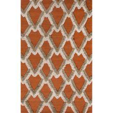 Flatweave Tribal Pattern Orange Wool Area Rug (8X10)