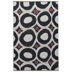 Contemporary Tribal Pattern White/Black Cotton Area Rug ( 8X11)