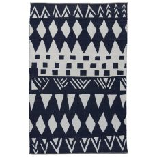 Contemporary Tribal Pattern Black/White Cotton Area Rug ( 8X11)