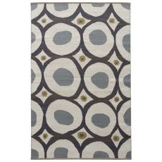 Contemporary Tribal Pattern White/Blue Cotton Area Rug ( 8X11)