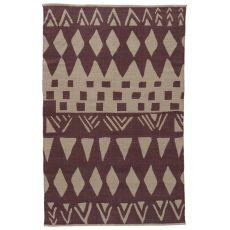 Contemporary Tribal Pattern Purple/Gray Cotton Area Rug ( 8X11)