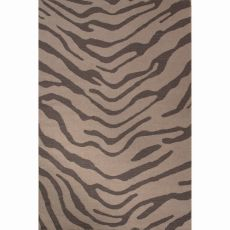 Flatweave Animal Pattern Dark Gray Wool Area Rug (8X10)
