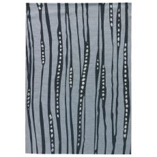 Contemporary Abstract Pattern Blue/White Polypropylene and Polyester Area Rug ( 7.6x9.6)