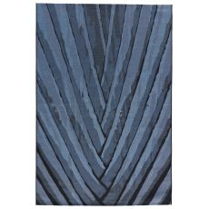 Contemporary Abstract Pattern Blue/Black Polypropylene and Polyester Area Rug ( 7.6x9.6)