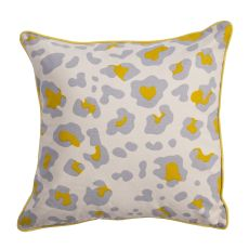 """Animal Print Pattern Ivory/Yellow Cotton And Polyester Down Fill Pillow ( 22""""X22"""")"""
