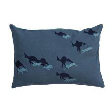 "Modern/Contemporary Pattern Blue Cotton Down Fill Pillow ( 14""X20"")"