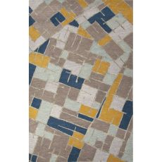 Contemporary Abstract Pattern Blue/Multi Wool Area Rug (8x10)