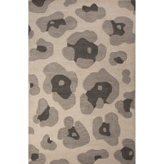 Contemporary Animal Pattern Gray Wool Area Rug (8X10)