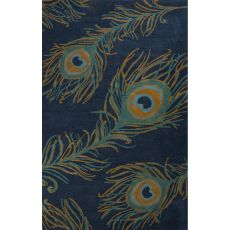 Contemporary Animal Pattern Blue Wool And Viscose Area Rug (8X10)