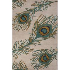 Contemporary Animal Pattern Green Wool And Viscose Area Rug (8X10)