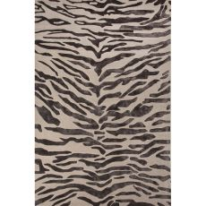 Contemporary Animal Pattern Black Wool And Viscose Area Rug (8X10)