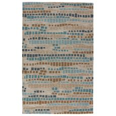 Modern Abstract Pattern Blue/Gray Wool And Viscose Area Rug ( 8X10)