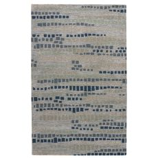 Modern Abstract Pattern White/Gray Wool And Viscose Area Rug ( 8X10)
