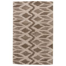 Modern Tribal Pattern White/Neutral Wool And Viscose Area Rug ( 8X10)