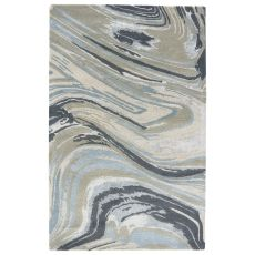 Modern Abstract Pattern Blue/Neutral Wool And Viscose Area Rug ( 8X10)