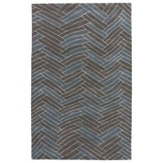Modern Geometric Pattern White/Brown Wool And Viscose Area Rug ( 8X10)