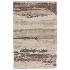 Modern Abstract Pattern White/Blue Wool And Viscose Area Rug ( 8X10)