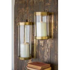 Glass and Brass Finish Wall Mounted Hurricane - Large
