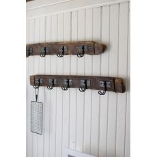 Recycled Wood Coat Rack With Five Wire Hooks, Set of 2