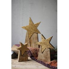 Wooden Star On Base, Set of 3