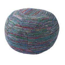 """Blue Rayon and Polyester Pouf (20""""x20""""x14"""")"""