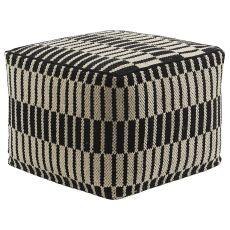 """Geometric Pattern Black/White Cotton Pouf ( 18""""X18""""X14"""")"""