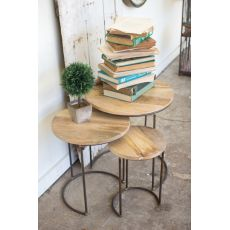 Nesting Iron Accent Tables With Mango Wood Tops Set of 3