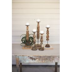 Repurposed Wooden Finial Candle Stands, Set of 5