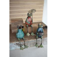 Recycled Iron Frogs, Set of 3