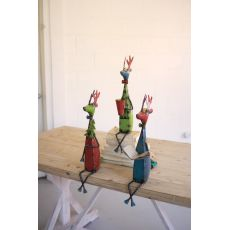 Recycled Metal Deer Shelf Sitters, Set of 3