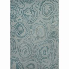 Contemporary Abstract Pattern Blue Wool Area Rug (8x10)