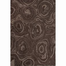 Contemporary Abstract Pattern Brown Wool Area Rug (8X10)