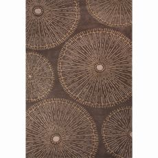 Contemporary Floral & Leaves Pattern Brown Wool Area Rug (8X10)