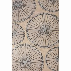 Contemporary Floral & Leaves Pattern Ivory/Blue Wool Area Rug (8X10)