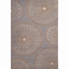 Contemporary Floral & Leaves Pattern Gray Wool Area Rug (8X10)