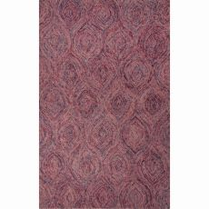 Contemporary Abstract Pattern Pink Wool Area Rug (8X10)