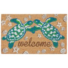 "Liora Manne Natura Seaturtle Welcome Outdoor Mat Natural 18""X30"""