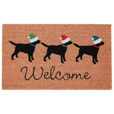 """Liora Manne Natura Three Dogs Holiday Outdoor Mat Natural 18""""x30"""""""