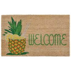 "Liora Manne Natura Welcome Pineapple Outdoor Mat Natural 18""X30"""
