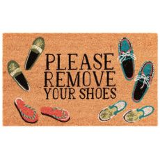 "Liora Manne Natura Please Remove Your Shoes Outdoor Mat Natural 18""X30"""